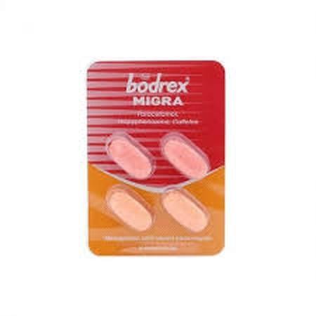 Segera redakan sakit kepala pada migrain Anda dengan meminum bodrex Migrain Kaplet 4's karena mengandung paracetamol, propyphenazone yang menghilangkan rasa nyeri.Obat sakit kepala bodrex Migrain Kaplet 4's menjadi pilihan untuk Anda meredakan rasa sakit