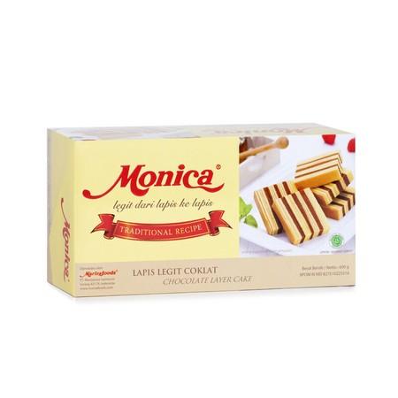 Monica Lapis Legit Cokelat, merupakan kue lapis legit cokelat yang terbuat dari bahan-bahan pilihan seperti tepung terigu, gula, telur, dan tanpa pemanis buatan serta dipadukan dengan resep rahasia dari keluarga yang sudah turun temurun, sehingga rasanya