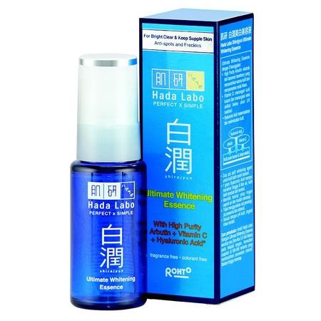 Hada Labo Shrojyun Ultimate Whitening Essence (30gr), serum pencerah kulit intensif yang mengandung Arbutin konsentrasi tinggi untuk menyamarkan flek hitam dan membuat kulit terlihat lebih cerah. Mengandung vitamin C sebagai whitening agent dan antioxidan
