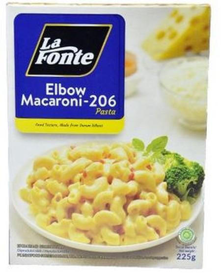 LA-FONTE Macaroni Pasta [225 g] merupakan pasta sehat untuk keluarga Indonesia dengan kualitas terjamin, mudah disajikan, tanpa bahan pewarna dan bahan pengawet. Kandungan protein dan serat yang tinggi, tidak mudah hancur saat dipanaskan maupun dimasak.