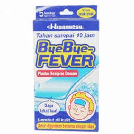 Indikasi Umum Plester ini digunakan untuk meredakan demam, sakit kepala, sakit gigi pada anak berusia dibawah 2 tahun. Deskripsi BYE BYE FEVER BAYI merupakan plester yang digunakan untuk kompres demam dan/atau nyeri yang ditujukan untuk anak umur 0-2 tahu