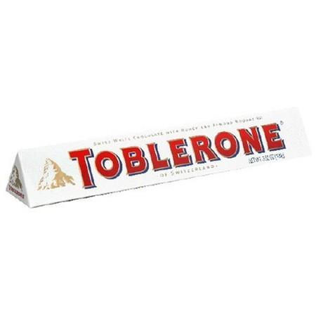 Toblerone White Chocolate 100gr. Coklat asli dari Switzerland dengan campuran nougat almond dan honey, membuat hari-harimu semakin manis.