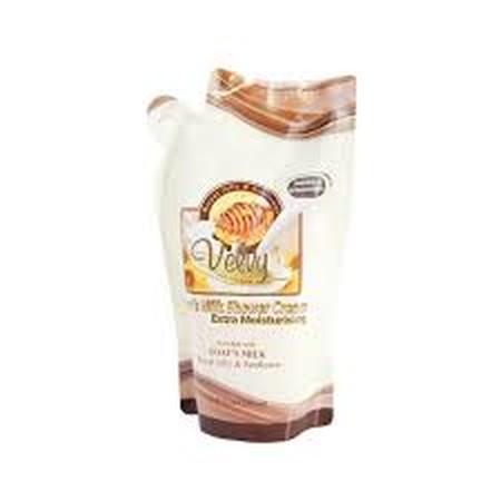 Velvy Goats Milk Royal Jelly & Sun Flower merupakan shower cream dengan extra moisturizing yang dapat membersihkan kulit tubuh dengan manfaat royal jelly yang merupakan sumber nutrisi serta sunflower yang mempertahankan kelembaban dan menjaga elastisitas