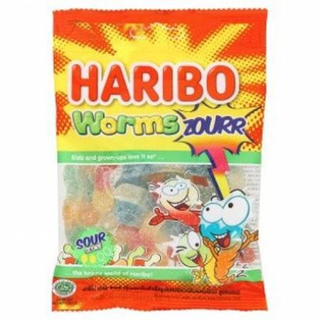 Haribo Worms Zourr 80Gr Haribo Worms Zourr 80GrMerupakan Permen Jelly Yang Dibuat Dengan Bahan-Bahan Berkualita Dan Dibentuk Unik Dan Menarik Yang Sangat Lezat. Permen Jelly Ini Diproduksi Tanpa Memakai Pewarna Buatan.