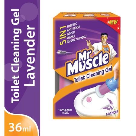 Mr. Muscle Toilet Cleaning Gel Lavender Refill 36 Ml, Adalah Cairan Aktif Pembersih Yang Secara Efektif Dapat Membersihkan Noda Pada Kloset, Membasmi Kuman & Bau Pada Toilet, Mengandung Bahan Bermutu Tinggi, Serta Membersihkan Kerak Membandel.