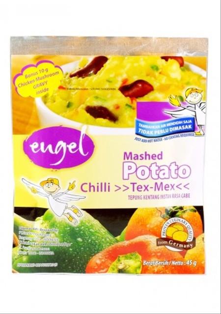 Engel Mashed Potato Chili Tex-Mex Box 3 x 45gr + 10gr merupakan mashed potato instan dengan variant yang cukup banyak dan menyehatkan. Paket tepung kentang instan dengan susu. Cukup ditambahkan atau diseduh dengan air panas lalu masak selama 2 menit. Komp