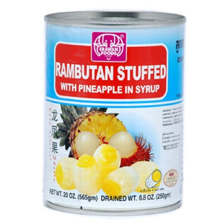 Erawan Rambutan Stuffed with Pineapple in Syrup 565gr merupakan makanan kaleng yang berisi potongan rambutan dan nanas dalam sirup. Makanan ini dibuat dari komposisi terbaik untuk mendapatkan cita rasa alami dari buah pilihan. Diproses dan dikemas secara