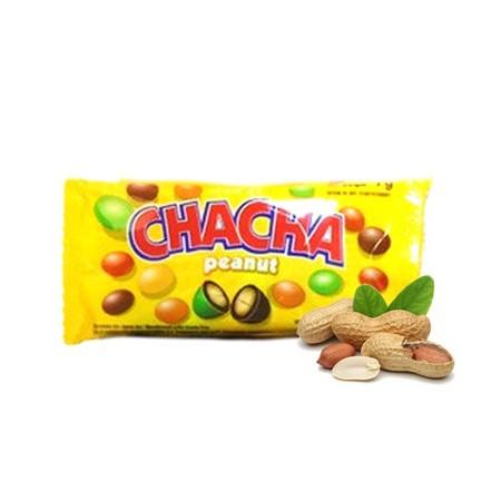 CHA CHA Peanut Warna 60g merupakan salah satu varian permen coklat persembahan Delfi. Permen coklat CHA CHA Peanut memadukan cangkang permen di bagian luarnya dengan kombinasi coklat susu dan kacang di dalamnya. CHA CHA Peanut Warna dibuat dari bahan-baha