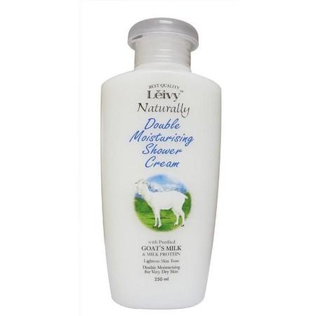 Leivy Shower Cream Goat Milk , sabun mandi cair yang mengandung 2x lipat manfaat susu kambing sehingga merawat kelembaban kulit, membuat kulit tampak putih alami, membuat kulit tampak halus dan cerah, dan dapat menyuburkan kulit.