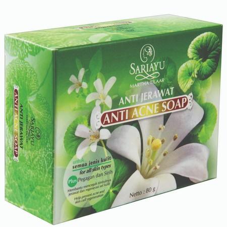 Sariayu Sabun Jerawat Acne Care membantu mencegah timbulnya jerawat dan regenerasi kulit. Mengandung Pegagan dan Daun Sirih.