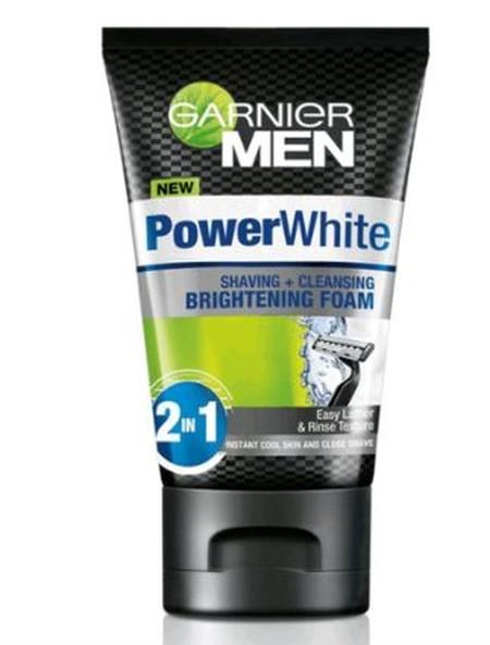 Garnier Men Power White Shaving & Cleansing Brightening Foam, Busa Pembersih Dan Pencukur