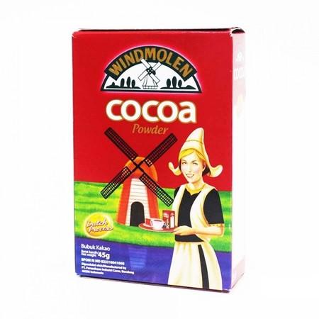 WINDMOLEN COCOA POWDER Kemasan 45gr terbuat dari biji kakao berkualitas tinggi, diolah dengan teknologi tinggi dan standar pengawasan mutu yang ketat, menghasilkan bubuk kakao murni dengan cita rasa dan kualitas yang terjamin dan dipercaya secara turun te
