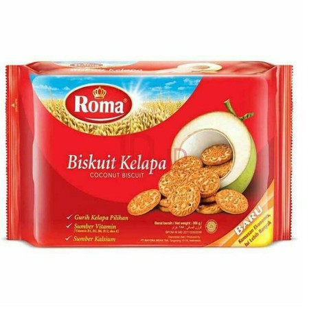 Roma Kelapa, crunchy bisuit made from real coconut. A perfect bond with your tea, coffee, and milk.