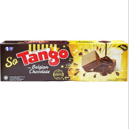 SO TANGO BELGIAN CHOCOLATE 135 GR (ISI 2PCS) merupakan wafer terbaik yang diciptakan oleh sang ahlinya cokelat dengan 3 lapisan cokelat Belgia yang sangat lezat dipadukan dengan wafer ekstra renyah memberikan kelezatan di setiap gigitan.