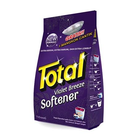 Total Violet Softener Merupakan Deterjen Bubuk Dan Softener Yang Diformulasi Untuk Melembutkan Serta Membersihkan Pakaian Dari Noda Dan Kotoran. Deterjen Ini Dilengkapi Butiran Pewangi Dengan Keharuman Bunga Yang Membuat Pakaian Harum Dan Segar Dalam Wakt