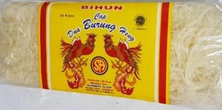 Bihun cap dua burung hong isi 4 pcs bihun. Netto 250gr. Bihun tidak lembek dan hancur saat digoreng maupun dimasak kuah
