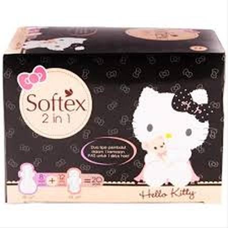Softex Hello Kitty 2 in 1 merupakan salah satu varian kombinasi pembalut reguler dan pembalut malam dari Softex seri Hello Kitty yang dirancang nyaman dipakai di siang dan malam hari. Pembalut Softex Hello Kitty 2 in 1 hadir dalam kombinasi pembalut regul