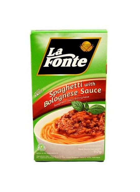 La Fonte Spaghetti with Bolognese Sauce - Mie & Pasta - 117gr merupakan spaghetti instan yang praktis dan mudah disajikan, hanya dalam waktu 4 menit. Terbuat dari gandum pilihan dengan saus kaya cita rasa. Cocok dinikmati saat santai bersama keluarga di r