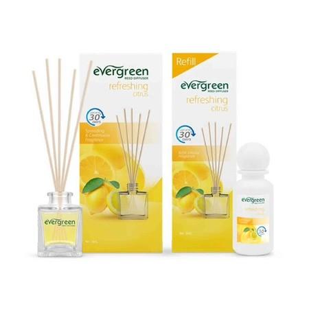 Evergreen Set & Refill Citrus Diffuser merupakan pewangi ruangan dengan keharuman floral dan fruity yang menyegarkan serta tahan lama hingga 30 hari. Tidak meninggalkan residu saat ataupun setelah digunakan. Dapat digunakan sebagai tambahan dekorasi ruang