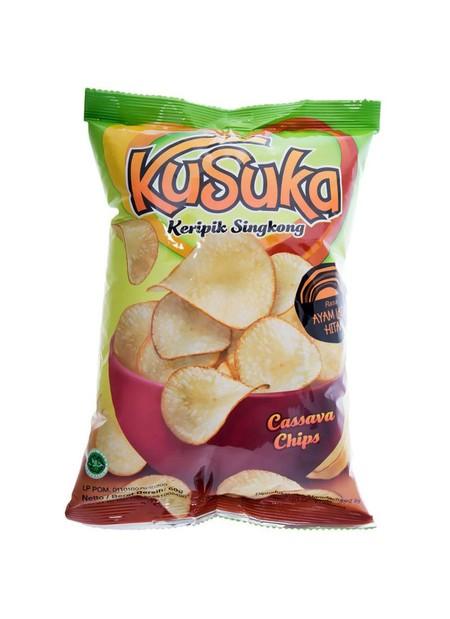 Keripik singkong Kusuka terbuat dari singkong pilihan yang diolah secara modern dan higienis serta dipadukan dengan bumbu bumbu berkualitas sehingga menjadikan Kusuka sangat renyah dan nikmat.