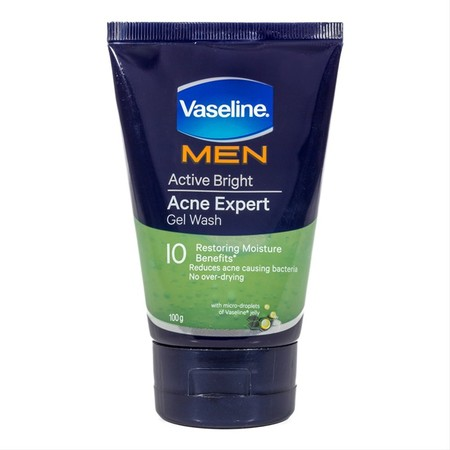 Vaseline Men Active Bright Acne Expert Gel Wash merupakan sabun wajah dengan Manfaat kelembaban yang memperbaiki 10x lebih banyak, mengurangi bakteri penyebab jerawat, tidak membuat kulit menjadi terlalu kering