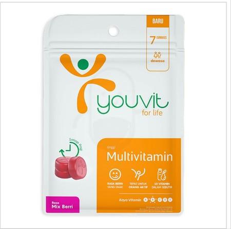 YOUVIT Adult merupakan multivitamin gummy (permen kenyal) kualitas premium rasa mix berri pertama di Indonesia untuk usia dewasa. Mengandung 10 vitamin yaitu vitamin A, B Kompleks, C, D, E dan 2 mineral penting bagi tubuh dengan standar AKG (Angka Kecukup