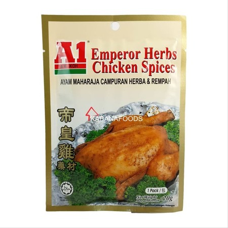Bumbu instan ayam maharaja campuran herbal dan rempah A1 Emperor Herbs Chicken Spices adalah bumbu instan yang terbuat dari bahan alami dan berkualitas tinggi untuk memasak ayam herbal sesuai resep tradisional kaisar negeri China. Masakan ini semenjak dah