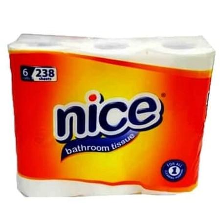 Nice Bathroom Tissue 6 Roll 238Pcs. Kehadiran Tissue Dalam Kehidupan Sehari-Hari Sangat Diperlukan, Salah Satunya Adalah Penggunaan Tissue Dalam Toilet. Tissue Toilet Sangat Membantu Anda Saat Sedang Berada Di Toilet Karena Dengan Adanya Tissue Toilet, Ke