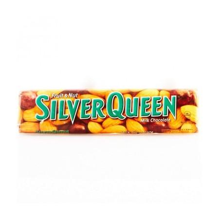 Silver Queen Fruit Nut 68Gr Pcs Silver Queen Fruit Nut 68Gr PcsAdalah Cokelat Dengan Perpaduan Pas Antara Coklat, Susu, Kacang Mete Dan Kismis Di Dalamnya Yang Menghasilkan Pengalaman Makan Cokelat Yang Akan Membuat Ketagihan. Nikmati Manisnya Cokelat