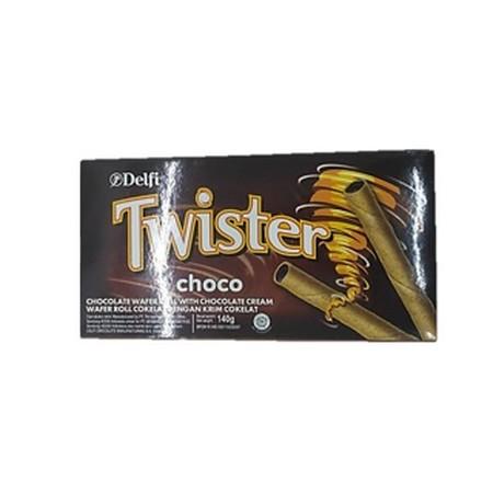 Selamat Twister Choco 140Gr Selamat Twister Choco 140GrMerupakan Wafer Stick Dengan Cokelat Yang Melimpah Di Dalamnya Yang Dibuat Dengan Bahan-Bahan Berkualitas. Cocok Di Konsumi Kapan Pun Dan Dimana Pun. Ideal Dinikmati Bersama Keluarga.