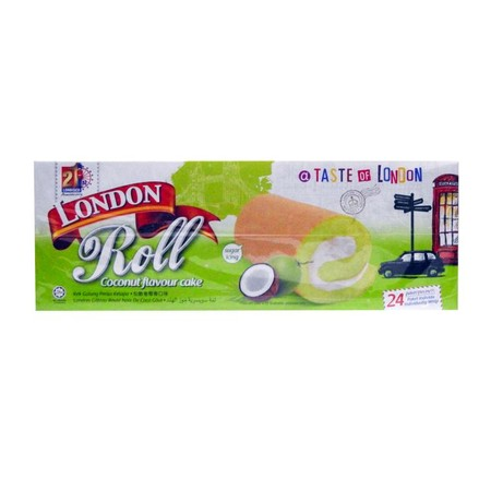 London swiss roll cake adalah bolu gulung yang dalemnya ada berbagai macam rasa. Bolu ini memiliki tekstur yang lembut dan nikmat. Pilihan rasa : - Chocolate - Strawberry - Cheese - Blueberry - Pandan Isi 24pcs / box Nett. 480gram HALAL
