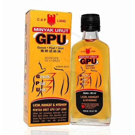 Cap Lang GPU Liniment merupakan produk minyak gosok yang memiliki banyak manfaat untuk kesehatan tubuh Anda. Gpu minyak memberikan sensasi hangat untuk membantu meredakan pegal linu, nyeri sendi, sakit punggung, keseleo, dan melancarkan peredaran darah.