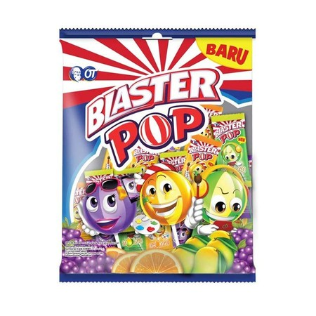 Excite your day with Blaster Pop. A striped lollipop with a center full of fun.
