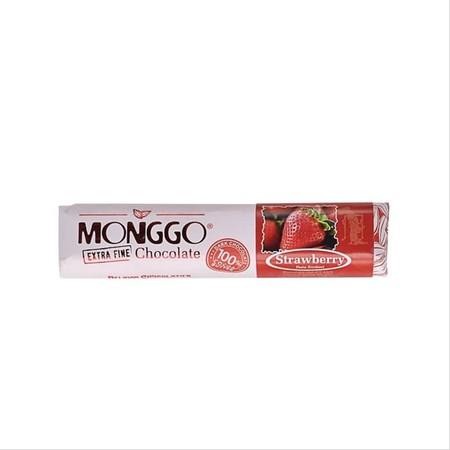 Coklat Monggo Jogja, dengan rasa strawberry, coklat produksi dalam negeri yang dibuat dengan menggunakan bahan-bahan berkualitas, disukai oleh tua dan muda.
