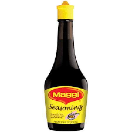 Maggi Seasoning merupakan bumbu penyedap berbentuk cair yang terbuat dari sari kedelai kualitas terbaik. Teksturnya cair seperti kecap dengan aroma harum bumbu yang khas. Bumbu penyedap ini memberi kelezatan lebih pada aneka hidangan, terutama yang bercit