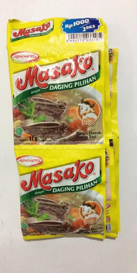 Masako, Bumbu Kaldu Penyedap dibuat dengan perpaduan sempurna antara daging segar berkualitas, bumbu dan rempah pilihan. Sehingga secara praktis menyempurnakan kelezatan masakan Anda sehari-hari dengan rasa dan aroma dari daging asli sama seperti kaldu bu