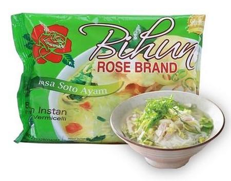 Bihun yang terbuat dari tepung jagung dan beras pilihan dan cocok untuk konsumsi sehari-hari maupun untuk pelengkap bakso, pempek maupun hidangan lainnya. Super Bihun Rose Brand dapat diolah menjadi berbagai macam variasi makanan dan sangat baik untuk tub