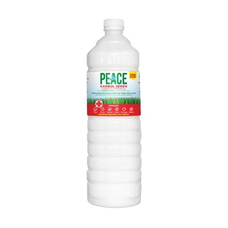 Peace Karbol Sereh Botol Cairan Pembersih Lantai adalah peace karbol dibuat dari ekstrak sereh alami yang dihasilkan dengan menggunakan mesin penyulingan sereh yang modern. Peace Karbol Sereh tidak menyebabkan iritasi di tangan