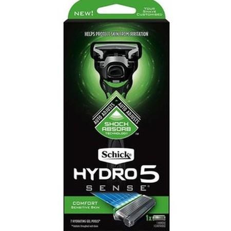 Schick Hydro 5 Sense with Shock Absorb Technology, merupakan Alat Cukur Manual dengan teknologi terbaru gerakan mata pisau memiliki Shock Absorb, yaitu:  Dapat menyesuaikan sendiri berdasarkan cara anda mencukur.  Bergerak mundur ketika anda memberi kan
