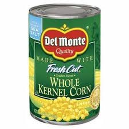 Del Monte Whole Kernel Corn . Ingredients : Corn, Water, Sugar, Salt