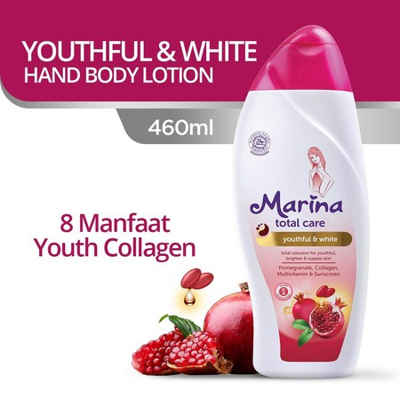 Hand & Body Lotion Dengan Advanced Technology Formula Youth Collagen 8M Dan Kandungan Bioyouthful Complex Dari Pomegranate Extract, Multivitamin, Dan Collagen, Serta Tabir Surya Yang Mampu Menutrisi, Melembapkan Dan Mencerahkan Kulit, Serta Melindungi Kul