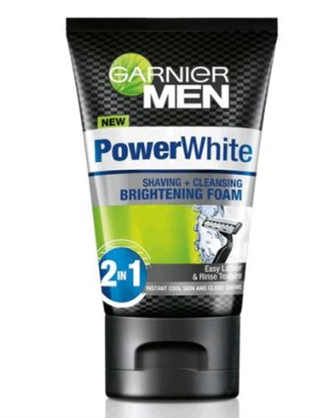 Garnier Men Power White Shaving & Cleansing Brightening Foam, Busa Pembersih Dan Pencukur