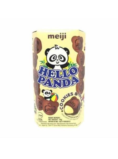 Hello Panda Cookies Cream 45g adalah salah satu varian biskuit isi krim kemasan besar persembahan Meiji yang sangat terkenal dari Jepang. Biskuit ini disukai dan terkenal di berbagai belahan dunia karena kejutan dari krim lezat di dalamnya yang lumer keti