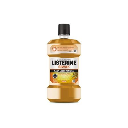 Listerine Siwak Obat Pembersih Mulut [250 mL] merupakan obat kumur dengan kandungan ekstrak siwak natural yang membuat mulut 5x lebih bersih dan memberikan mulut extra bersih hingga 12 jam.