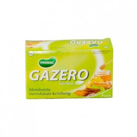 Mengatasi perut kembung dan begah. Deskripsi : PROMAG GAZERO merupakan sirup herbal yang berkhasiat membantu meredakan kembung dengan kandungan jahe merah, adas, kunyit, akar manis, peppermint, nanas, madu, dan royal jelly. Gazero membantu meredakan perut