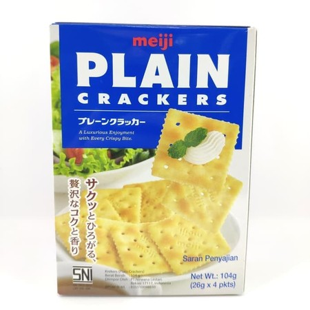 Meiji Plain Crackers Are Produced Using A Traditional Long Fermentation Process Which Takes Up To 24 Hours To Achieve The Strong Aroma And Blend Of A Nice Cracker. Provides A Luxurious Enjoyment With Every Crispy Bite. Ingredients: Wheat Flour, Vegetable