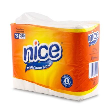 Nice Bathroom White Embos Tissue 10 Pcs, Merupakan Tissue Toilet Terbuat Dari 100% Serat Alami (Virgin Plantation Pulp) Yang Diproses Secara Higienis Dan Menghasilkan Tissue Halus Berkualitas Tinggi Bagi Keluarga Anda.