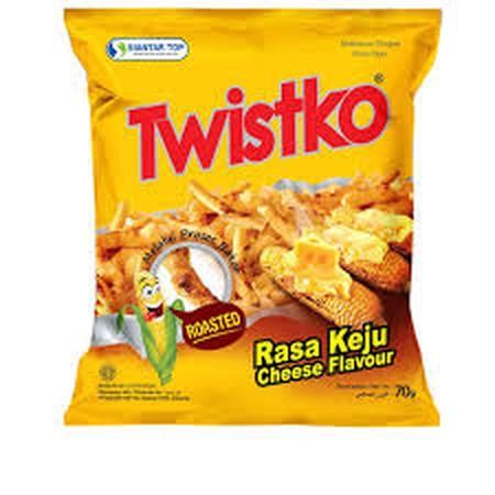 TWISTKO Keju Bakar Snack [70 g] adalah stick rasa jagung keju bakar yang renyah karena diproses 100% Roasted tanpa digoreng. Rasanya yang pas, sangat cocok untuk teman ngemil disegala suasana dan bisa dibawa kemana-mana.