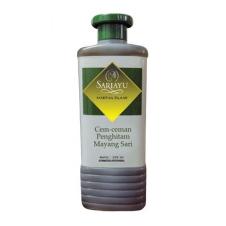 SARIAYU Cem-ceman Penghitam Rambut Mayang Sari-200 ml Untuk merawat rambut agar tetap sehat, lebat, hitam berkilau. Ingredients : Ekstrak daun orang aring , yang mempunyai unsur ecliptine untuk penghitam rambut serta dapat mendinginkan kulit kepala
