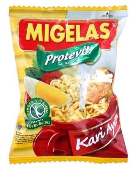 Mi Gelas kari ayam made of natural ingredients and free of artificial MSG, food coloring and preservatives and containing Protevit.